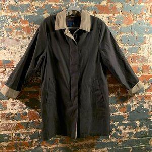 London Fog Charcoal Black and Tan Raincoat Trench